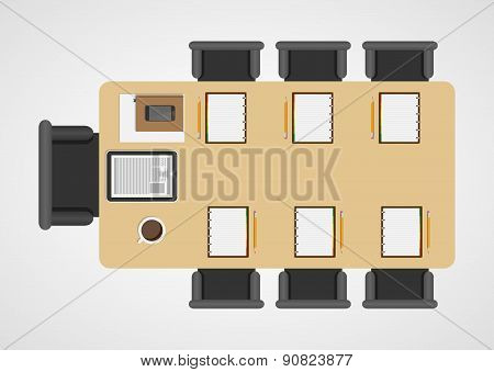 Business Meeting, Brainstorming, Teamwork. Flat Design Concept. Vector Illustration.