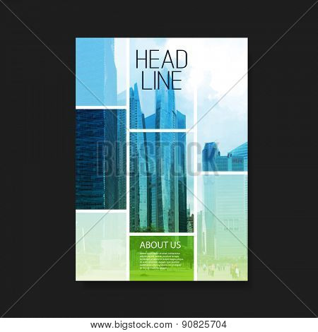 Flyer or Cover Design with Skyscrapers