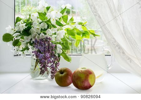 Flowering Branches Of Apple, Apples And Apple Compote