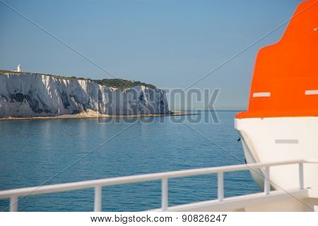Lifeboat On The Ship In Britsh Channel With View On White Cliffs.