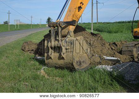 Bucket Of The Excavator On Installation