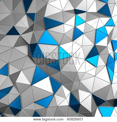 Abstract 3d rendering of low poly metal surface.