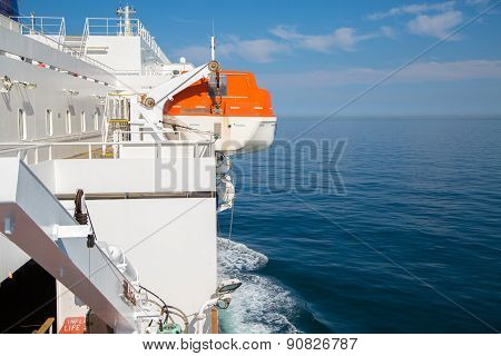 Lifeboat On The Ship In Britsh Channel.