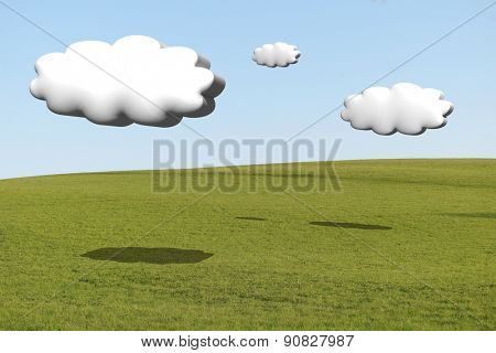 hilly meadow with cumulus clouds 3d with the shadow on the grass
