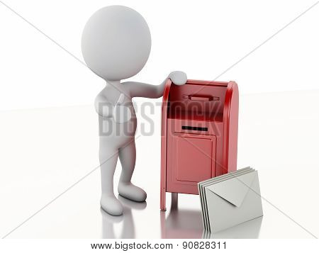 3d white people with mail box and heap of letters.