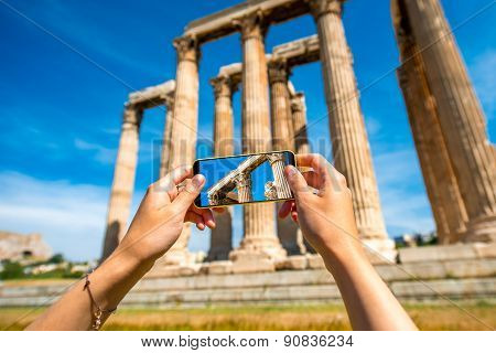 Photographing Greek temple ruins with mobile phone