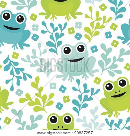 Seamless adorable kids frog woodland theme forest animals illustration background pattern in vector