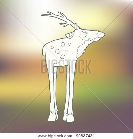 Vector Illustration Hand-drawn deer with long horns and spots on blurred green background