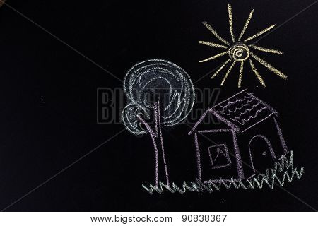 house, tree and sun, drawn in chalk on dark background