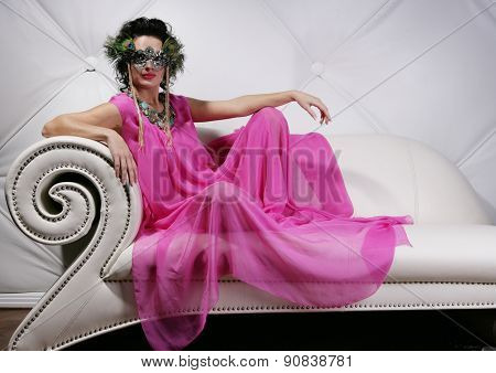 Beautiful woman with mask. Carnaval visage.