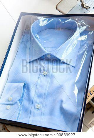 Light Blue Elegant Shirt For Men In A Box