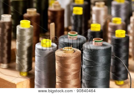 Various Colored Yarns On Bobbins At A Tailor