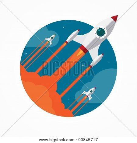 Startup vector concept with flying pencil rockets