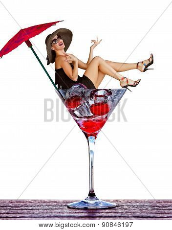 Smiling girl fall in martini glass