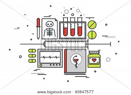 Medical Equipment Line Style Illustration
