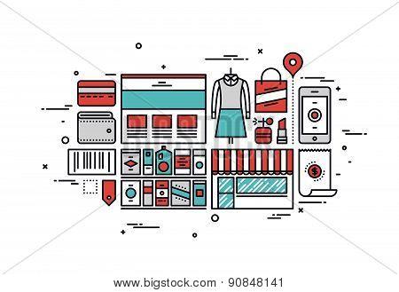 Shopping Goods Line Style Illustration