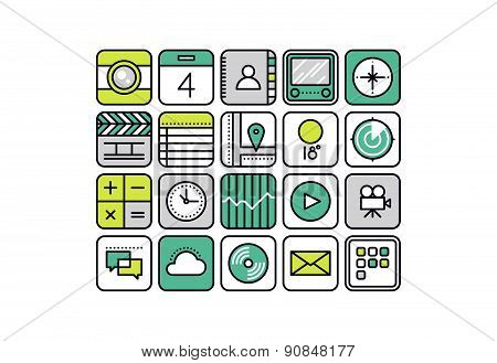 Mobile Apps Line Style Icons