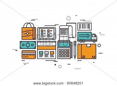 E-commerce Services Line Style Illustration