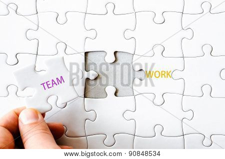 Missing Jigsaw Puzzle Piece Completing Word Teamwork