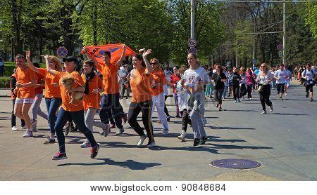 Chisinau Moldova- April 26.2015. Marathon runners on the street Stefan cel Mare. Chisinau Moldova