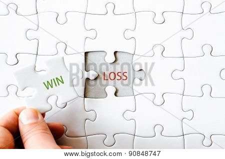 Missing Jigsaw Puzzle Piece With Word Win