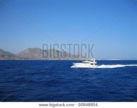 The boat in the Aegean Sea.