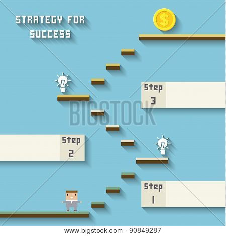 business like a game on blue. Strategy for sucess