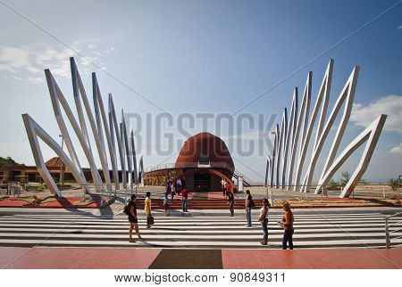 Outdoor design, Alfaro city, home to the National Constituent Assembly in Montecristi, Ecuador