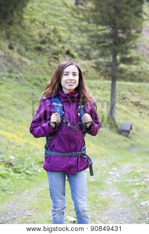 Woman Hiker Outdoors In Spring