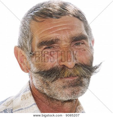 Portrait Of Positive Elderly Man With Moustaches