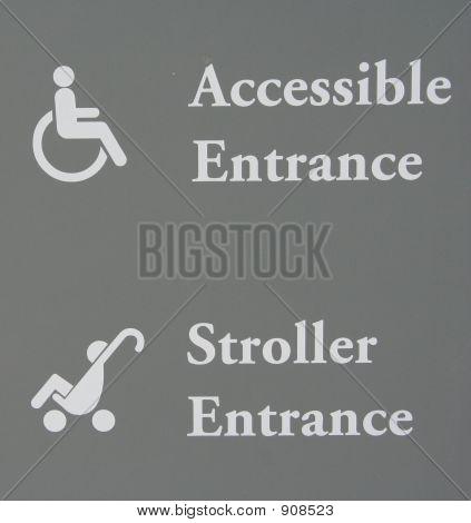 Accesible y señal de entrada de cochecito