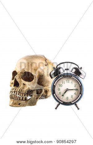 Old Alarm Clock And  Human Skull On White Background