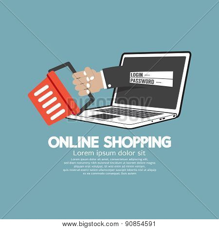Shopping Cart With Laptop Online Shopping Concept.