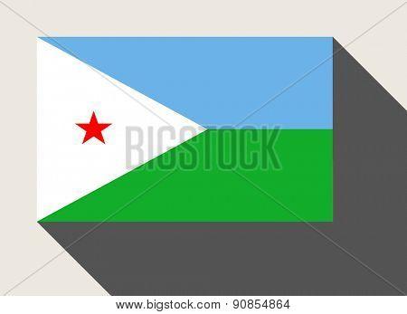 Djibouti flag in flat web design style.