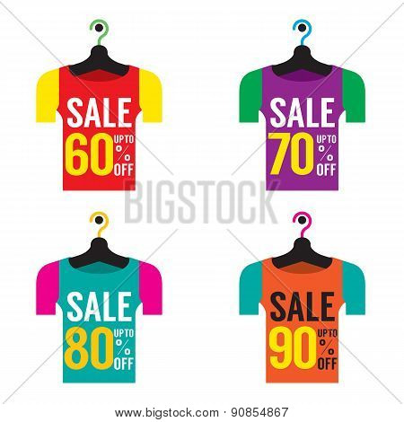 Clothes Hangers With Sale Tag.