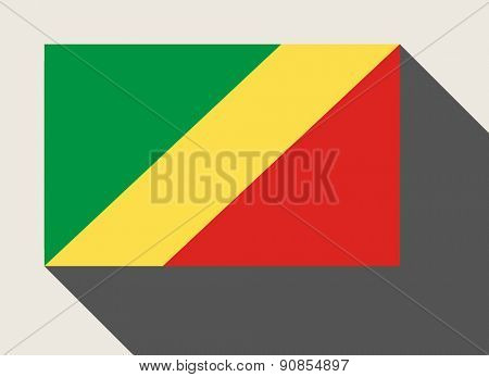 Republic of the Congo flag in flat web design style.
