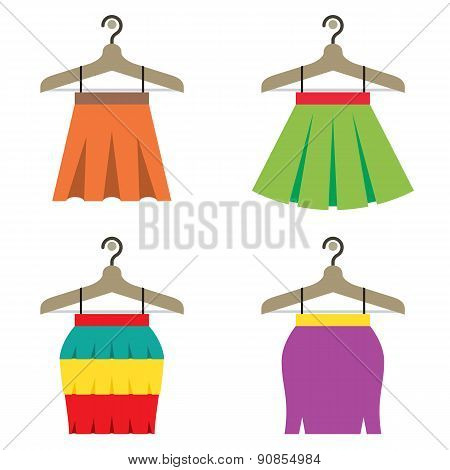 Colorful Women Skirts With Hangers.