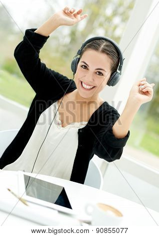 Vibrant Young Woman Enjoying Her Music