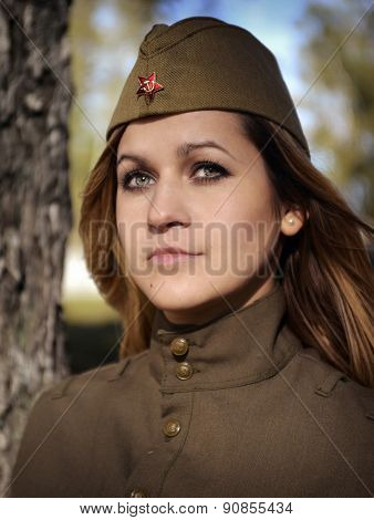 Portrait Of A Girl In The Uniform Of The Red Army