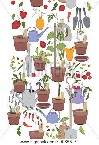 Seamless vertical pattern with gardening tools, flower pots,herbs and vegetables. Pattern brush.