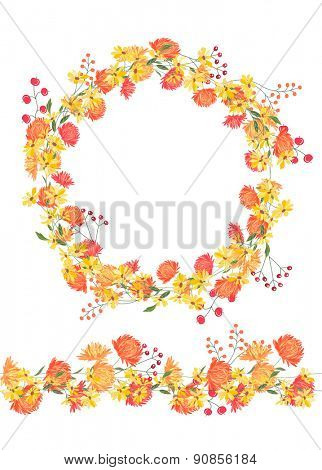 Detailed contour wreath and seamless pattern brush with asters and berries isolated on white. Endless horizontal texture for your design, greeting cards, announcements, posters.