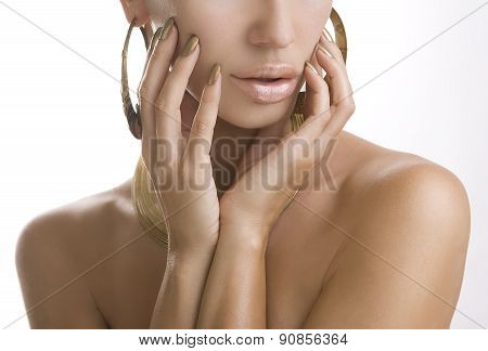 Women With Golden Make-up, Hands With Golden Manicure. Makeup, Beauty