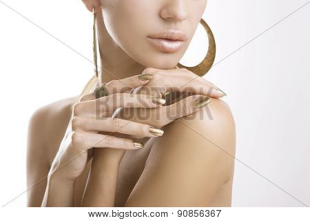 Golden Manicure, Female Hands With Shiny Golden Nail Polish