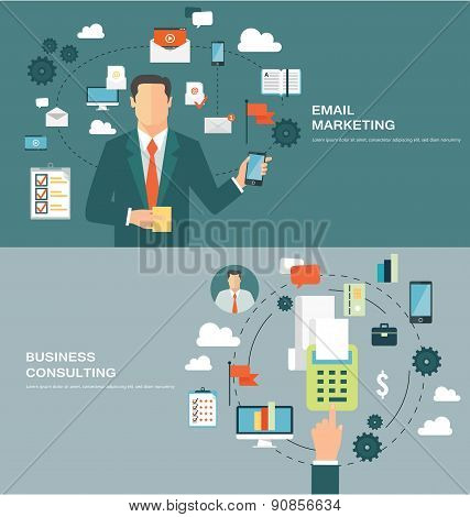 Flat design concepts for email marketing and business consulting