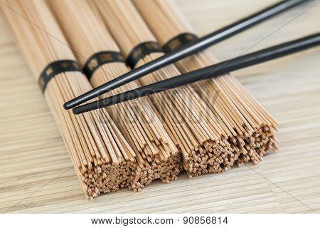 Close-up Bundles Of Soba Noodles