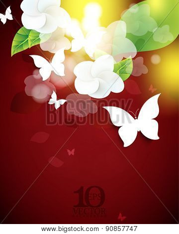 eps10 vector flowers butterflies leaves element on red background