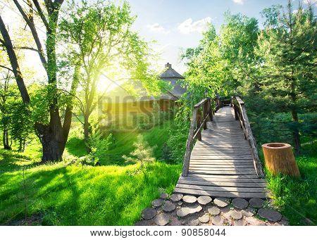 House of log and bridge