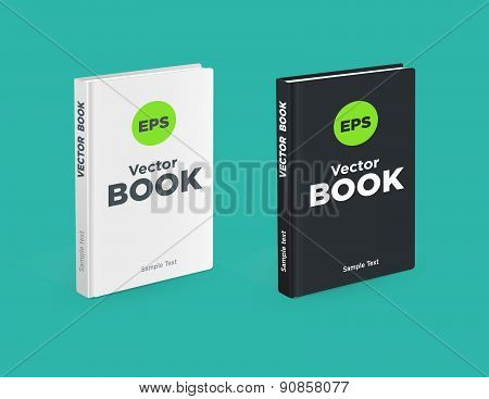 Realistic Black And White Books On The Green Background. Realistic Book Mockups.