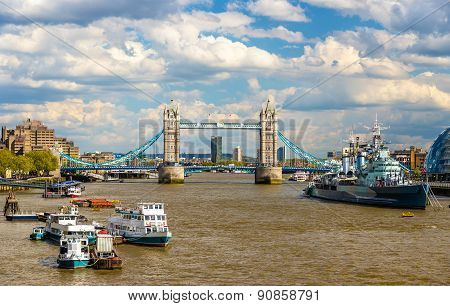 View Of The Thames River In London - England