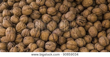 background texture of walnuts in shell